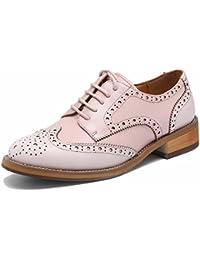 7b6a7aa4156461 SimpleC Damen Vintage Brogue Bequem Business Schnürhalbschuhe Leder  Klassiker Perforierte Wingtip Oxfords