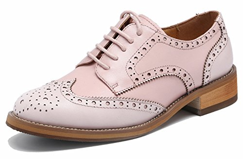 Las mujeres perforaron Wingtip Leather Oxfords, Vintage Brogue cómodo Office Low Heel Shoes Rosa claro 39