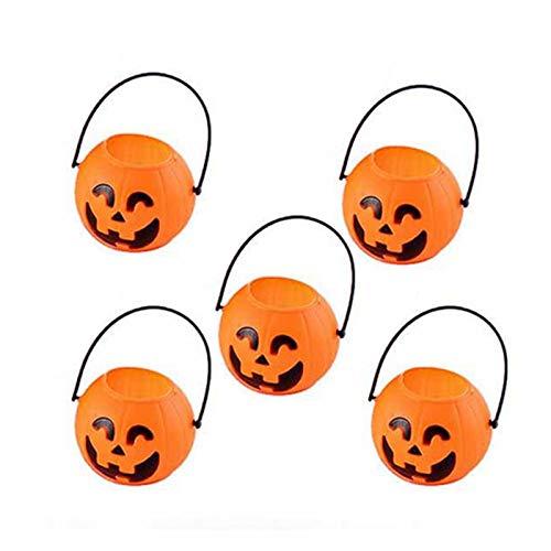WSCOLL 5/10 stücke Kunststoff orange kürbis Eimer Mini süßigkeiten süße Halter für Kleinkind Kind Halloween parieren Trick behandeln süßigkeiten Beutel Eimer 10 stücke kürbis (Monster High Kostüm Für Kleinkind)