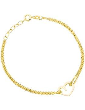 Miore Damen-Armband 925 Sterling Silber Vergoldet Herz Länge 17cm + 2cm