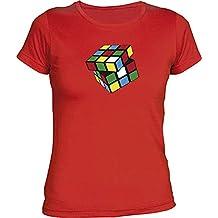Camisetas EGB Camiseta Chica Cubo Rubik ochenteras 80´s Retro