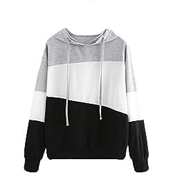 Kukul Nuevo Sudaderas con capucha Mujer - 2017 Hoodie Pullover Hot sale Patchwork Sweatshirt (M, Negro)