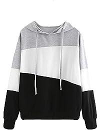 Kukul 2017 Nuevo Sudaderas con Capucha Mujer - 2017 Hoodie Pullover Camiseta Blusa Tops de Manga Larga Empalme de Moda Basico Deportivo para Mujer Chica