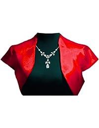 Berry Classic chaqueta de satén de manga corta Bolero encogimiento de hombros de manga corta, color rojo, blanco y negro plata