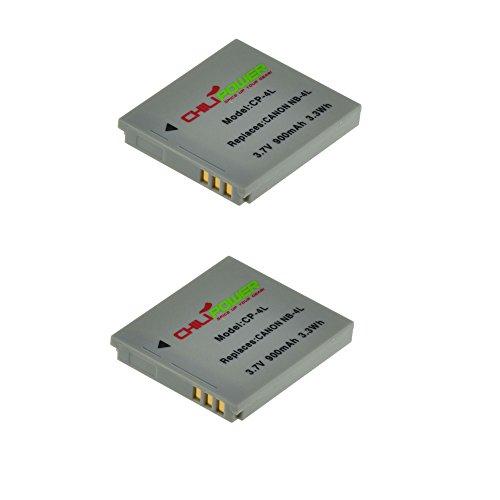 ChiliPower 2-Pack NB-4L (900mAh) Batería para Canon Digital IXUS 30, 40, 50, 55, 60, 65, 70, 75, 80 IS, i7, Powershot SD30, SD40, SD200, SD300, SD400, SD430, SD450, SD600, SD630, SD750, SD780 IS, SD940 IS, SD960 IS, SD970 IS, SD1000, SD1100 IS, SD1100 IS, SD1400 IS, TX1, ELPH 100 HS, 300 HS, 310 HS, 330 HS, VIXIA