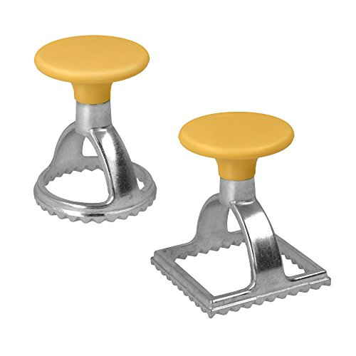 Metaltex Set of 2 Stainless Steel Ravioli Stamps & Cutters-Square and Circle, Silver