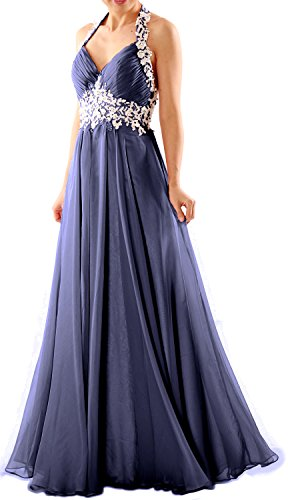 MACloth Women Halter V Neck Lace Chiffon Long Prom Party Dress Fromal Ball Gown Dunkelmarine