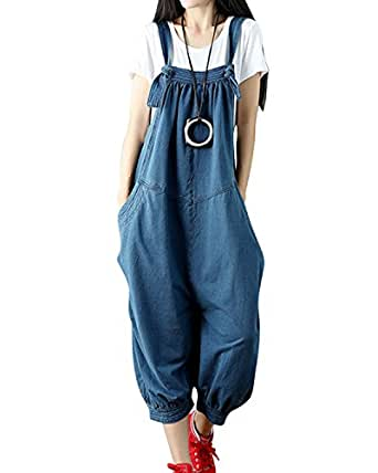 845ac05211 Image Unavailable. Image not available for. Colour  Jacansi Women Casual  Loose Overalls Jumpsuit Rompers Dungarees with Pockets Blue
