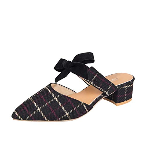 MORETIME Scarpe Cerimonia Donna,Donna Moda Donna Punta A Punta Quadrata Tacco Mocassini Scarpe Casual Sandalo Scarpe