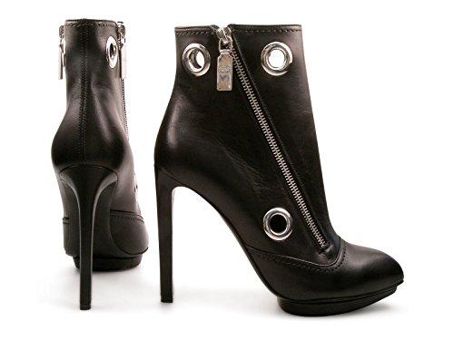 Bottes à talon Alexander McQueen en cuir veau noir - Code modèle: 366278 WHC80 1000 Noir