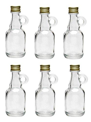12 Stk Mini Gallone 40 ml Glasflaschen mit Schraubverschluss Henkel zum Selbstbefüllen Schnaps Kurze Öl -