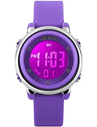 Girls Digital Watch - Kids Sports Waterproof Electrical Outdoor Stopwatch Alarm 7 Color LED Luminescent Watches for Youth Girl - Purple