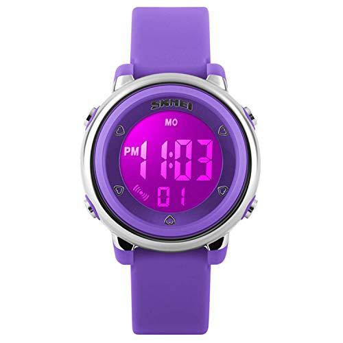 Digitale Kinder-Armbanduhr für Mädchen und Jungen, wasserdicht, LED-Anzeige, leuchtende Alarm / Stoppuhr, Violett