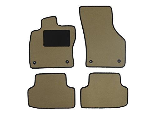 Fußmatte 5314 - Autoteppich von Alpha-Tex (4-tlg. in Qualität Deluxe beige, Umrandung grau) inkl. Befestigung (rund)