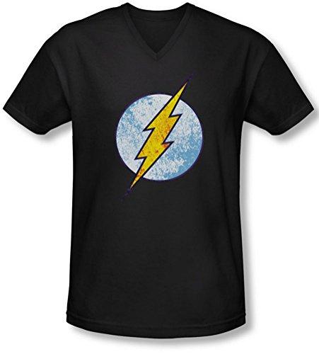 Dco - Männer Flash-Neon Distress Logo mit V-Ausschnitt T-Shirt Black