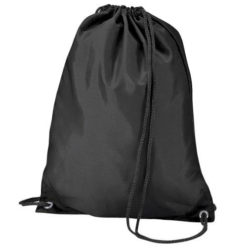 BagBase Budget Water Resistant Sports Gymsac Drawstring Bag (11L) (One Size) (Black)