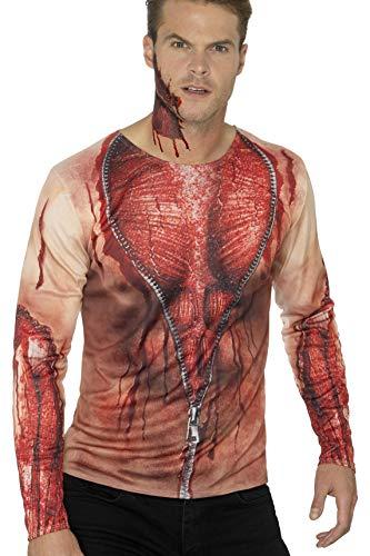 Smiffys Herren Zerrissene Haut T-Shirt mit langen Armen, Größe: M, Hautfarbe, 46833