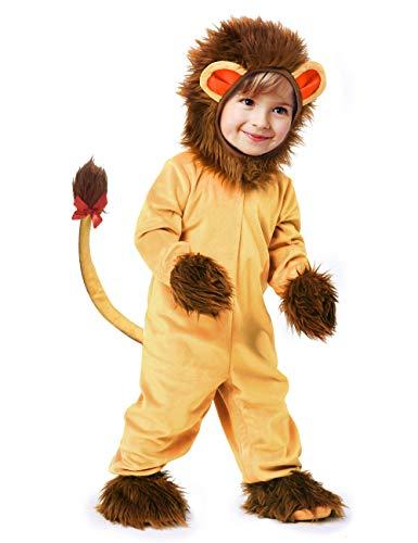 IKALI Baby Jungen Mädchen Löwe Kostüm,Halloween Tier Pyjama,OneSize Strampler Overall (Kuschelige Löwen Mädchen Kostüm)
