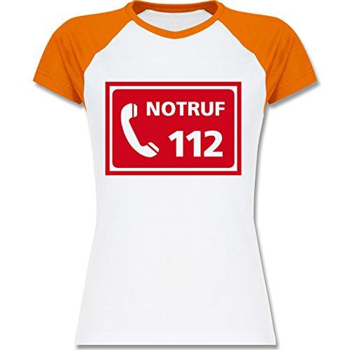 Feuerwehr Feuerwehr Notruf zweifarbiges Baseballshirt / Raglan TShirt für Damen  Weiß/Orange