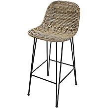 Amelex 67 Chaise De Bar Haute En Rotin Style Rustique Moderne Siege Tresse