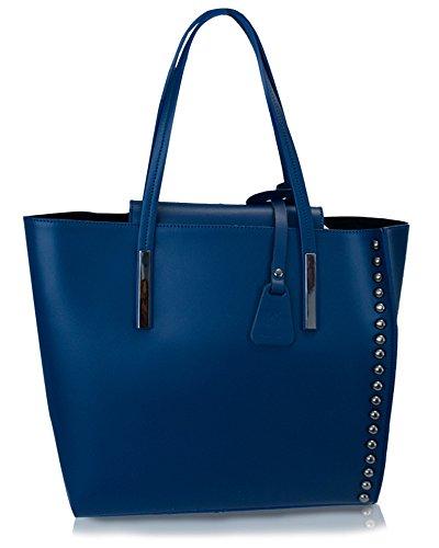 """Klassiker Italienische """"On Trend"""" Damen Leder Handtasche, Schultertasche, Elegante Tasche mit Schulterriemen in Vielen Farben 33x32x16 cm, Hergestellt in Italien. Blu"""
