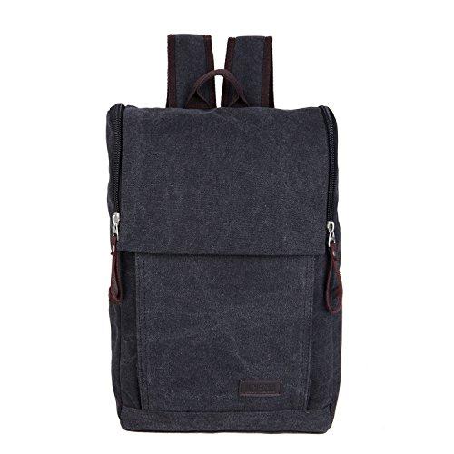 &ZHOU Segeltuchtasche, Canvas-Taschen, Umhängetaschen, Freizeit Taschen, Schulranzen, große Kapazität Mehrzweck-outdoor-Reisen Tasche retro Black