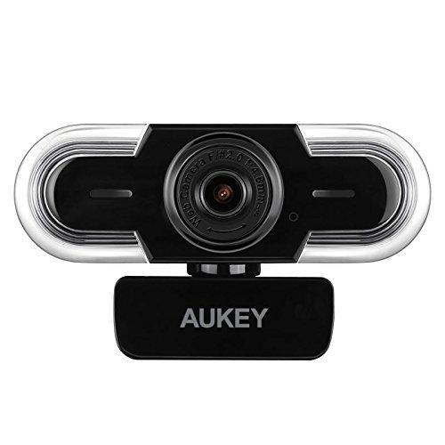 AUKEY Webcam 2K HD mit Mikrofon, Belichtungsautomatik, Manuellem Fokus, USB Kamera Zum Video Chatten und Aufnahmen, Kompatibel mit Windows, Mac OS und Android