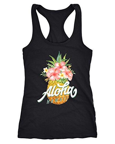 Neverless Damen Tank-Top Ananas Aloha Hawaii Blumen Tropical Paradise Racerback Slim Fit tailliert Baumwolle schwarz M