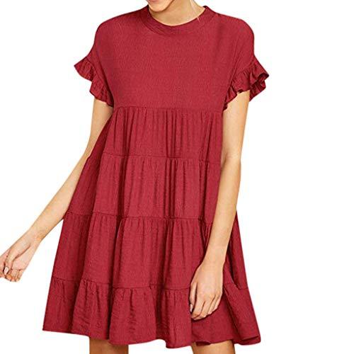 Lucky Mall Damen Mode Einfarbige Rundhals Midikleid, Sommer Lockeres Kleid Kurzarm mit Rüschen Partykleid Bequemes Strandrock Lässiges Kleid (Für Kinder-billig Creed-kostüm Assassin)