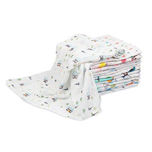 Super weiche Baby Mullwindeln für Jungen und girls-100% Musselin Baumwolle Blend Swaddle & Receiving Decken 110cm x 110cm (109,2x 109,2cm) für Babys Kleinkinder Kleinkinder Neugeborene