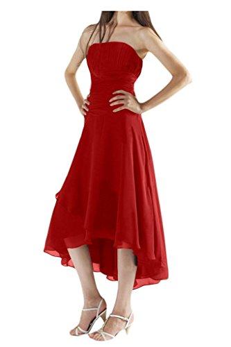 Gorgeous Bride Schlicht Lang Traegerlos Empire Chiffon Abendkleid Festkleid Ballkleid Rot