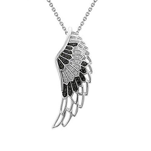 l Feder Flügel schwarz und weiß Diamant Anhänger Halskette (1/4Karat) ()