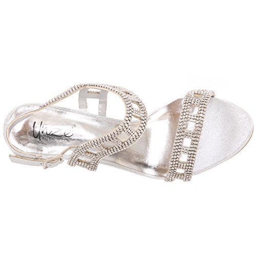 Unze Nouvelle Femme Ishwa Diamante Embellie Sangle de la Cheville Peep Toe Mi Haute Soirée Talon, Mariage, Prom Party Chaussures Tailles 3-8 Argent