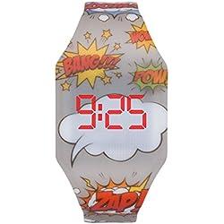 KIDDUS Reloj LED Digital para niña o niño. Pulsera de Silicona Suave para niños y Adultos. Batería Japonesa reemplazable. Fácil de Leer y Aprender Las Horas. KI10214 Comic