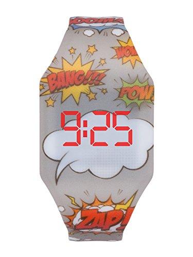 Reloj LED Digital niño chico, infantil y joven, de pulsera, correa de suave silicona, trendy regalo, Comic Kiddus KI10214
