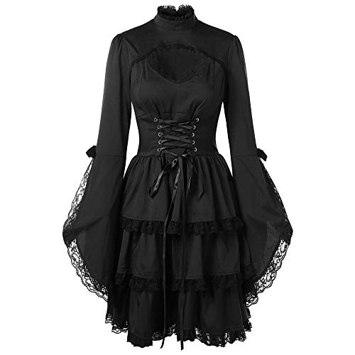 Setsail Damen Langärmliges Spitzenkleid aus Trompetenärmel Korsage Kleid Steam Punk Gothic Magic Mistress Teufelchen Halloween Cosplay (Schwarz, M)