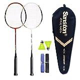 Senston 2 Player Badminton Set Carbon Badmintonschläger Graphit Badminton Schläger