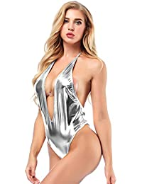 abad55161f0 IWEMEK Women PVC Leather Bodysuit Shiny Metallic Jumpsuit Wet Look Deep V  Neck Halter Teddy Lingerie