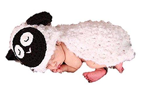Baby-Outfit für Neugeborene, gehäkelt, ideal als Foto-Requisite, für Jungen und Mädchen geeignet (Lamm)