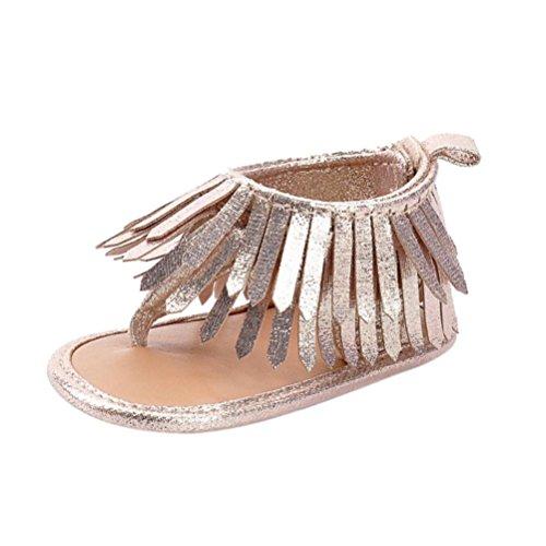 Kolylong Chaussures Bébé gland des PU cuir Semelle souple sandales pour Nouveau née Fille Garçons (0~6 Month, Or)