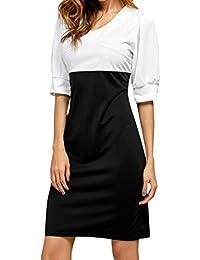 34 VERO MODA Damen Etuikleid Kurzkleid Business Kleid Rockabilly grau blau Gr