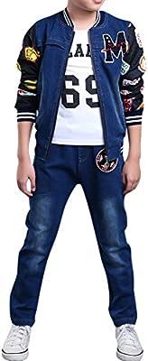 MNBS–Chándal traje de niños y niñas chaqueta de tela vaquera para pantalones vaqueros