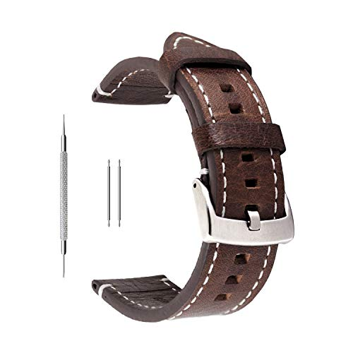 Uhrenarmband aus Echtleder von Berfine, extra weiches Echtleder, Ersatzarmband für Damen- und Herrenuhren, schwarz, braun, 18mm, 20mm, 22mm, dunkelbraun, 20 mm