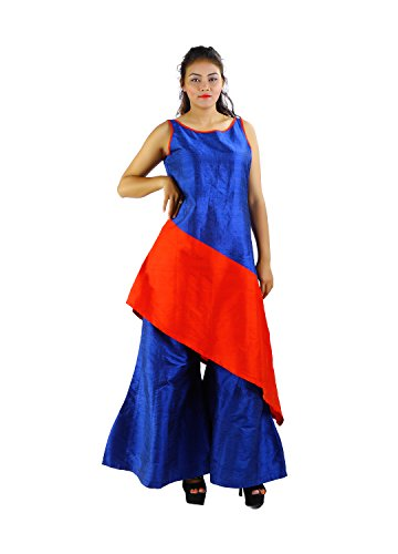Godwit Khadi Women's Silk Indowesterns - Blue_40