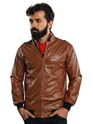 A.B.C. Garments New Lining Full Sleeves Tan Zipper Pu Leather Casual Jacket for Men