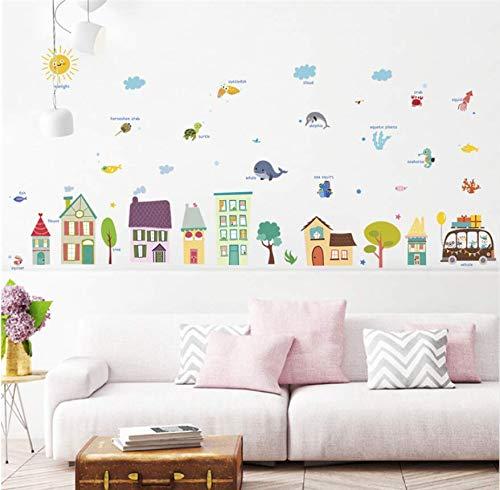 Diy Cartoon Haus Bus Baum Wandaufkleber Für Kinderzimmer Schlafzimmer Kindergarten Dekoration Pvc Wandtattoos Diy Wandbild Kabinett Kunst Poster - Kunst-kabinett