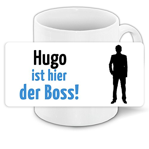 Tasse mit Motiv und Namen - Hugo ist der Boss - | Büro-Tasse | Lustiger Becher
