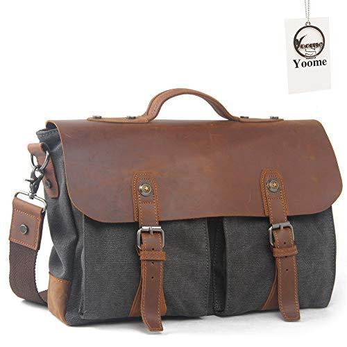 Yoome Messenger Umhängetasche für Damen und Herren, Vintage Leinwand Leder 35,6cm Laptop Aktentasche