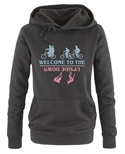 ome to the upside down - Stranger Things - Damen Hoodie - Schwarz / Eisblau-Rosa Gr. S (Party-stadt Schnurrbärte)