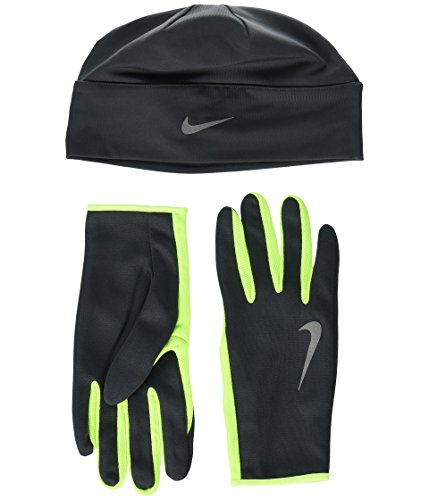 Nike Herren Run Dry Hat and Gloves Set, Anthracite/Volt/Silv, S/M